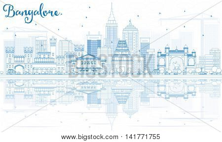 Outline Bangalore Skyline with Blue Buildings and Reflections. Vector Illustration. Business Travel and Tourism Concept with Historic Buildings. Image for Presentation Banner Placard and Web Site.