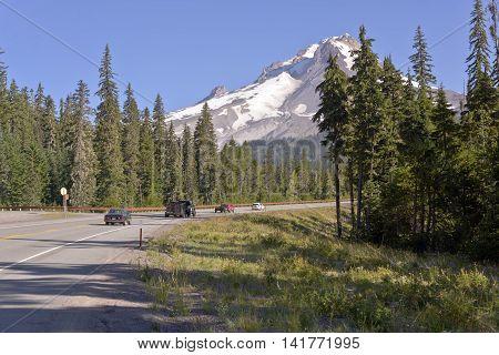 Scenic drives north around Mt. Hood wilderness area Oregon.