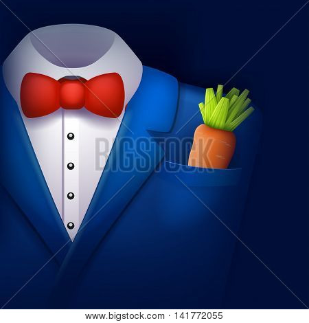illustration of blue color tuxedo with carrot in a pocket on blue background