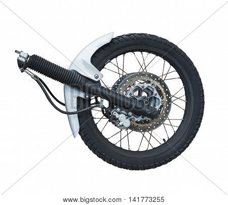 the front wheel of a motorcycle isolated on the white background
