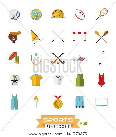 Collection of sports icons, flat design, isolated. Icon set 2.