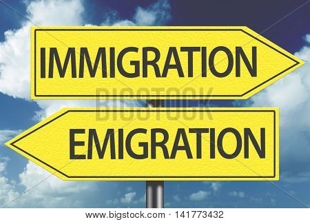 Immigration x Emigration yellow sign