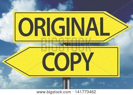Original x Copy yellow sign