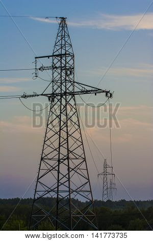 High voltage electricity transmission lines in the forest