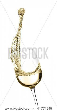 Splash of white wine, isolated on white