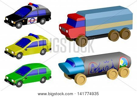 Toy cars isolated on white background, 3D illustration