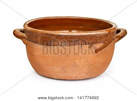 terracotta pot for slow cooking isolated clipping path
