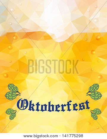 Oktoberfest sign and hop buds. Vector illustration. Low poly.