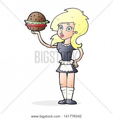 cartoon waitress with burger