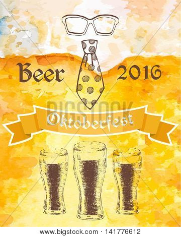 Hand drawn Oktoberfest 2016 vector illustration with three beer glasses, dotted tie and eyeglasses.