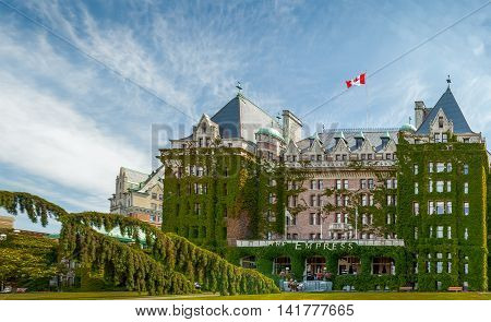 Victoria, British Columbia, Canada - June 29,  2009  : Fairmont Empress (most commonly known as The Empress) is one of the oldest and most famous hotels in Victoria British Columbia Canada.