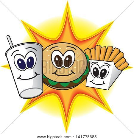 Happy, smiling cartoon fast food meal in front of bright flash