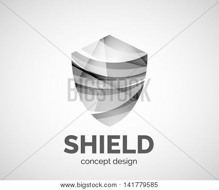 Shield logo business branding icon, created with color overlapping elements. Glossy abstract geometric style, single logo