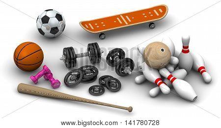 Sports Equipment. Dumbbells basketball bowling ball skittles soccer ball baseball-bat and skateboard lie on a white surface. Isolated. 3D Illustration