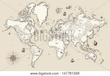 High detailed Old world map with decorative elements