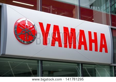 VILNIUS, LITHUANIA-AUGUST 7, 2016: Yamaha logo. Yamaha Motor Company Limited is a Japanese manufacturer of motorcycles, marine products such as boats and outboard motors, and other motorized products.