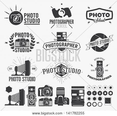 Photography and photo studio logo Classic camera Labels