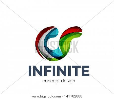 Infinite logo business branding icon, created with color overlapping elements. Glossy abstract geometric style, single logo