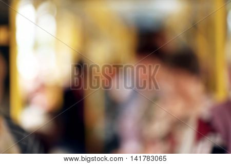 Blurred background of crowded public transport