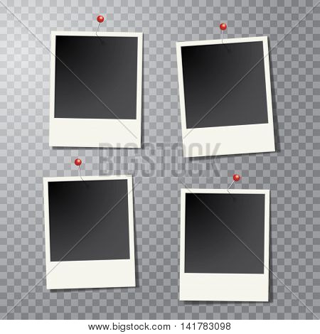 four vector vintage blank instant photo frames with pins and transparent shadow