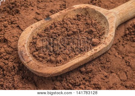 Cocoa powder into a spoon over a cocoa background