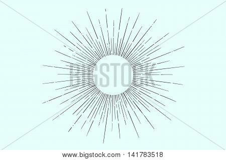 Light rays, sunburst and rays of sun. Linear drawing. Vintage hipster style. Light rays sunburst for retro logo, emblem. Vector Illustration