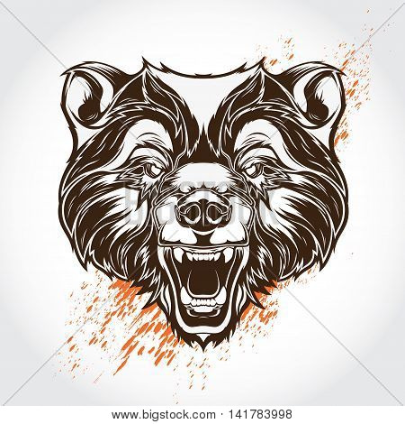 Vector illustration tattoo bear with flashy splash on background