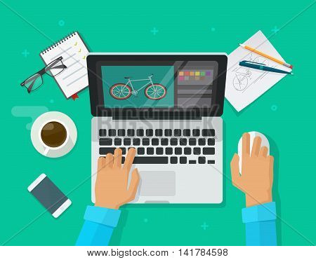 Designer workplace vector illustration top view, flat cartoon person sitting on table and working on laptop, graphic designer at work in office, freelancer working on computer