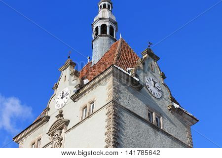 blue sky castle spire Gothic clock roof