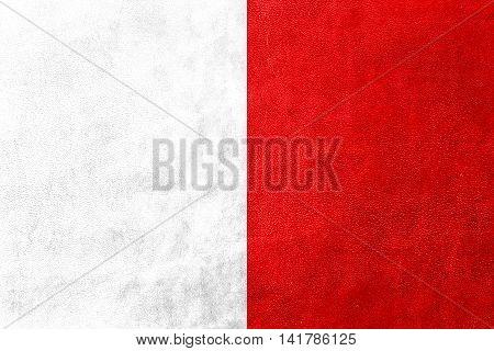 Flag Of Mdina, Malta, Painted On Leather Texture