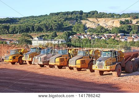 Dump trucks on a road construction site