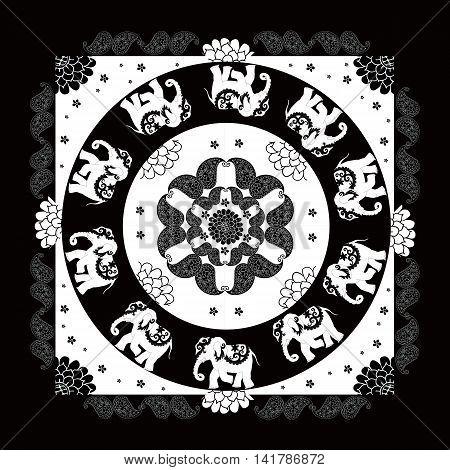 India. Black and white ethnic bandana print with beautiful flowers, paisley and elephants. Summer kerchief square pattern design style for print on fabric. Mandala.