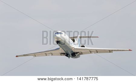 Moscow region - 31 July 2016: A passenger plane Yak-42D Saratov Airlines flies to Domodedovo airport and the sky July 31 2016 Moscow Region Russia