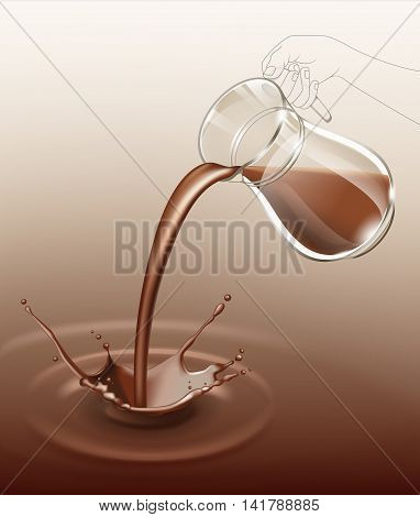 Vector  Chocolate Splash Stream Flows from Jug Glass Close Up Isolated on Background