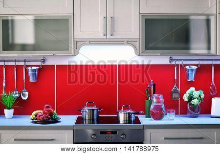 Modern kitchen interior with stove