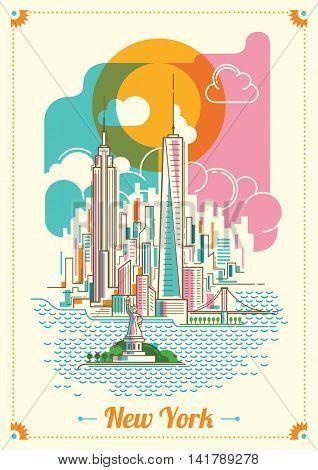 New York city illustration in color. Vector illustration.
