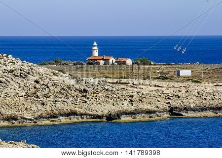 25 may 2016.Cape Greco.The lighthouse at Cape Greco . Cyprus.