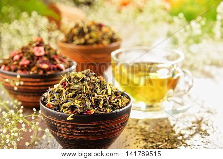 Composition With Bowls Of Tea Leaves