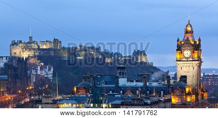 Edinburgh Panorama Cityscape from Calton Hill at dusk Scotland UK