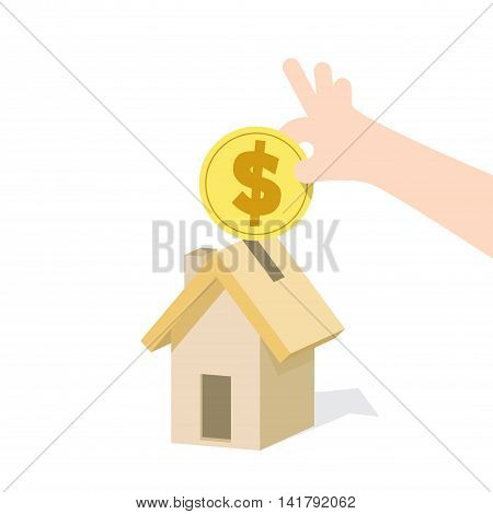 Saving Money And Spending For Housing Illustration Vector. Finance Concept.