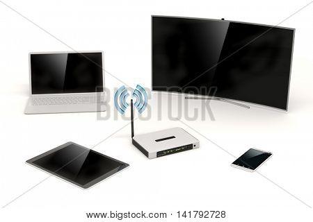 3d home network setup on white background