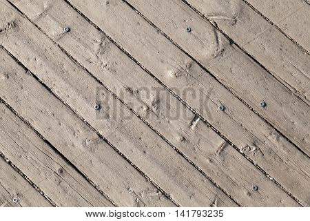 Old Gray Wooden Floor With Screw, Background