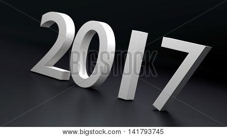 Happy holidays 2017 new year, 3d illustration