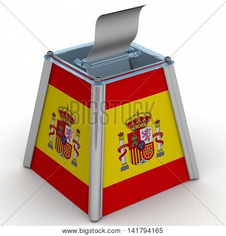 The ballot box with the flag of Spain. Ballot box to vote with the flag of Spain and ballot sheet is on the white surface. Isolated. 3D Illustration