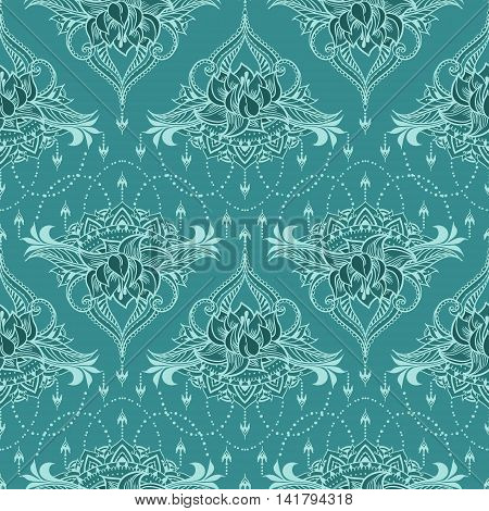 Seamless pattern with lotus in east style. Can be used for backgrounds business style tattoo templates cards design or else. Vector illustration.