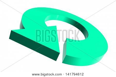 Illustrated round arrow in teal color