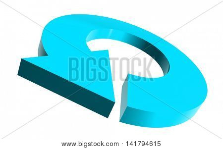 Illustrated round arrow in cyan