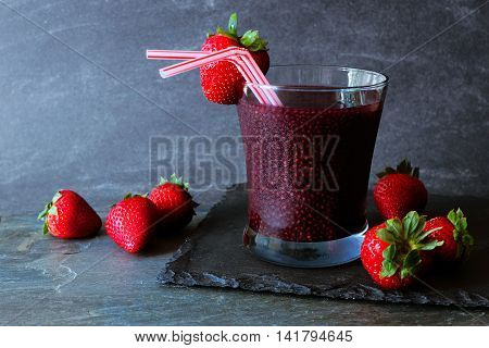 Nutritious Strawberry Chia Seed Beverage On A Slate Background