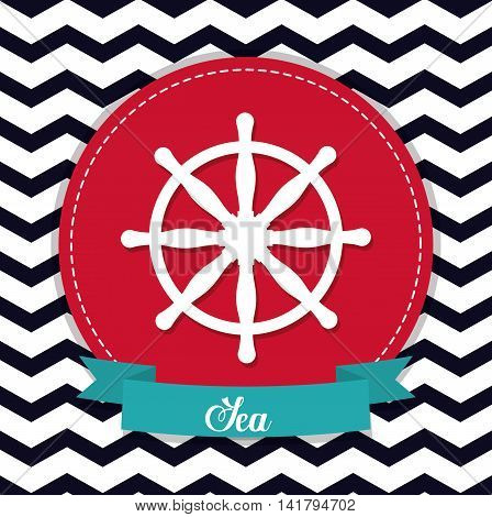 Sea lifestyle design represented by rudder icon over seal stamp. Colorfull and flat illustration. Striped background.