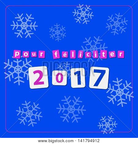 pf card new year 2017 - text with snowflakes on a blue background